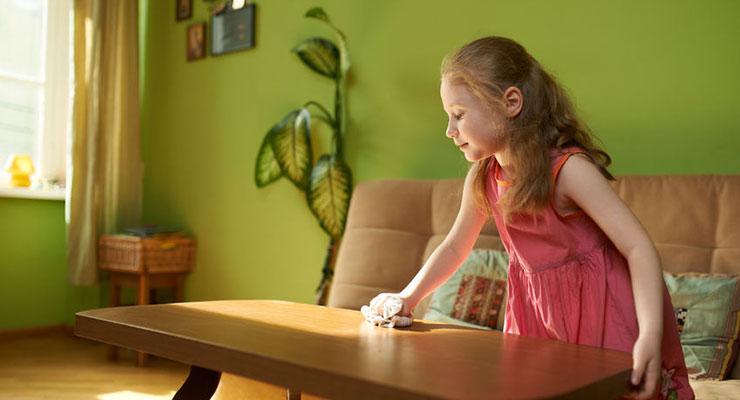 Girl Dusting Furniture